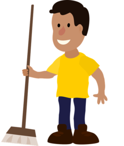 Happy Cleaning Man